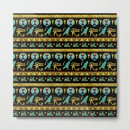 Egyptian  Ornament Symbols Pattern Metal Print