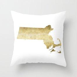 massachusetts gold foil state map Throw Pillow