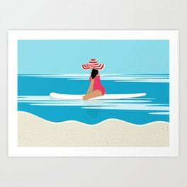 Solo surfing woman Art Print