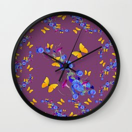 Puce Color Yellow Butterflies Blue Floral Abstract Wall Clock