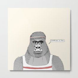 Gorillas love exercise Metal Print