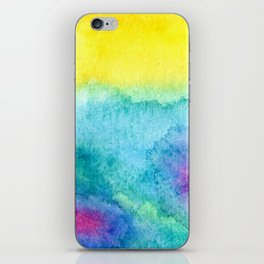 Modern neon yellow blue hand painted watercolor iPhone Skin