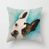 boston terrier Throw Pillows featuring Boston Terrier  by MeggaChurch