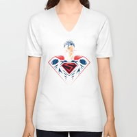 man of steel V-neck T-shirts featuring Man of Steel by Steven Toang