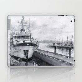 Kirkland Marina Waterfront Boat Watercolor Seattle Laptop & iPad Skin