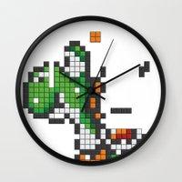 yoshi Wall Clocks featuring Yoshi Tetris by Tombst0ne