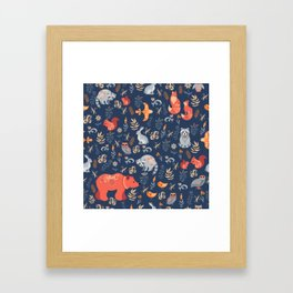 Fairy-tale forest. Fox, bear, raccoon, owls, rabbits, flowers and herbs on a blue background. Seamle Framed Art Print