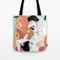 sex and the city Tote Bags featuring Sex Needs by Dushan Milic