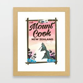 Mount Cook New Zealand travel poster Framed Art Print