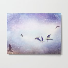 Gulls In Flight Metal Print