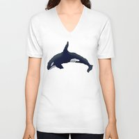 orca V-neck T-shirts featuring Orca by Dusty Goods