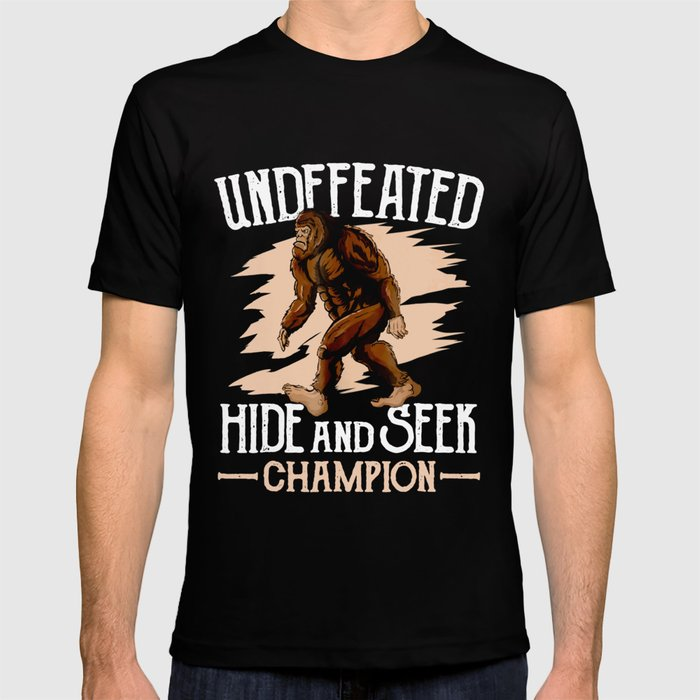 897d5e4c Funny Undefeated Hide And Seek Champion Bigfoot Tshirt Mens T-shirt ...