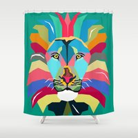 lion Shower Curtains featuring lion by mark ashkenazi