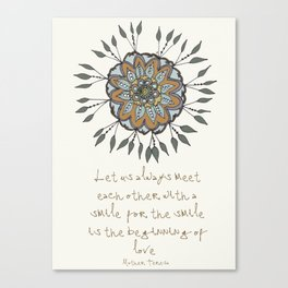 Shamuvel's mandala with a Mother Teresa Quote Canvas Print