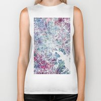 baltimore Biker Tanks featuring Baltimore by MapMapMaps.Watercolors