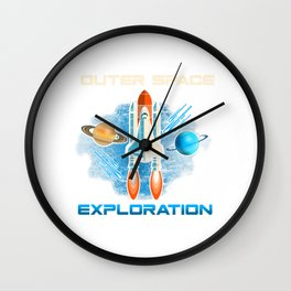 Outer Space Exploration Rocket Astronaut Wall Clock