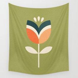 RETRO TULIP - ORANGE AND OLIVE GREEN Wall Tapestry