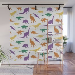 Wild dinosaurs silhouette pattern Wall Mural