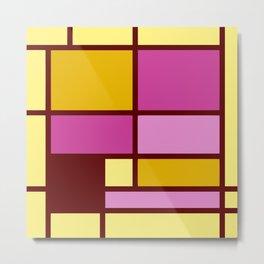 Mondrianista yellow fuchsia Metal Print