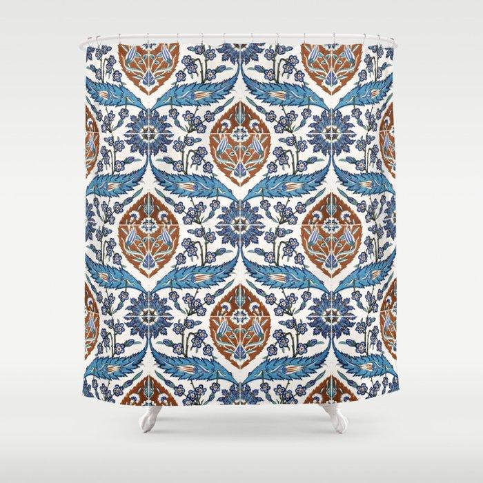 Iznik Tile Pattern Blue White Brown Shower Curtain