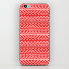 Red and White Classic Nordic Christmas Pattern iPhone Skin