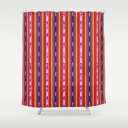 Red and Purple huipil Shower Curtain