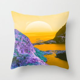 the Candy River (Yellow) Throw Pillow