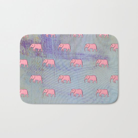 elephants on an abstract background Bath Mat