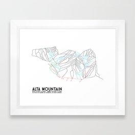 Alta, UT - Minimalist Trail Map Framed Art Print