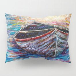 Wooden Boat at Sunrise my Painting with a Palette Knife Pillow Sham