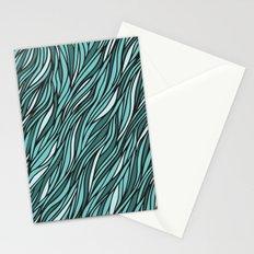 Cyan wave pattern Stationery Cards