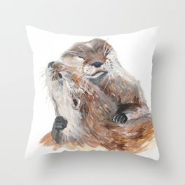 Otters in Love Throw Pillow