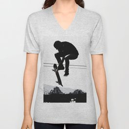 Flying High Skateboarder Unisex V-Neck
