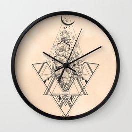 Desert Geometric Roses Coral Wall Clock