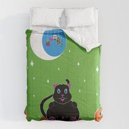 Black Kitty under the Green night sky Comforters