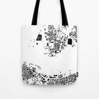 hong kong Tote Bags featuring Hong Kong by Maps Factory