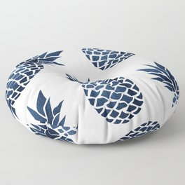 Tropical Prints, Navy Blue and White Pineapple, Hawaii Print Floor Pillow