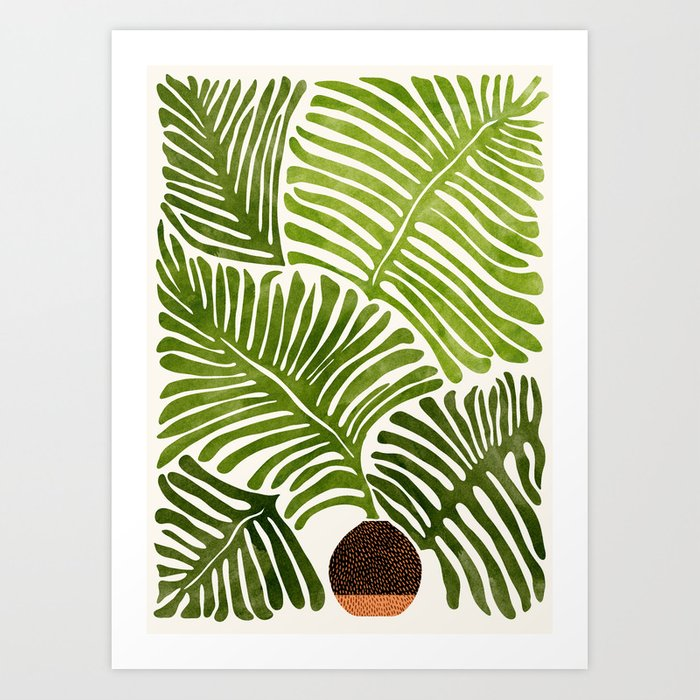 Summer Fern / Simple Modern Watercolor Art Print