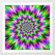 Spiral Rosette in Pink Green and Blue Art Print