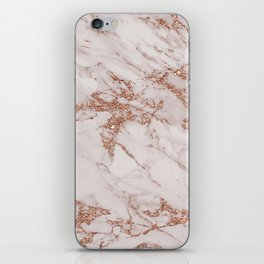 Trendy elegant rose gold glitter gray marble iPhone Skin