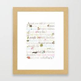 ABCs of Parenting - Woodland - Pink Framed Art Print