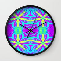 psychedelic Wall Clocks featuring psychedelic Floral Fuchsia Aqua by 2sweet4words Designs
