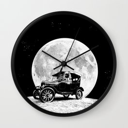 See you on the Moon - Old car - Model T - Spaceship, Astronaut - Retro - Astronomy Wall Clock