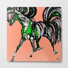 Horse Coral Mosaic Metal Print