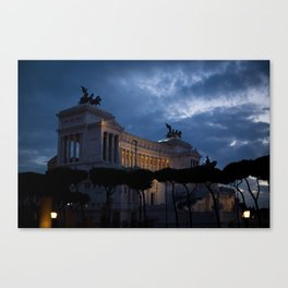 Rome - Darkness falls over the Vittoriano Canvas Print