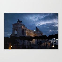 Rome - Darkness falls over the Vittoriano Canvas Print
