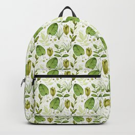 leafy green tulip pattern Backpack