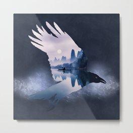 Crow Mystic River - I - dark background Metal Print