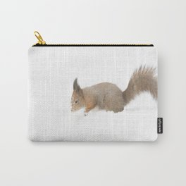 Little squirrel sitting in the snow #decor #society6 #buyart Carry-All Pouch