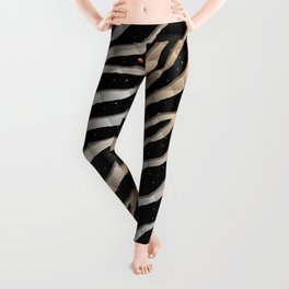 Ripped SpaceTime Stripes - Bronze/White Leggings